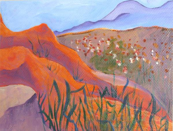 Landscape Poster featuring the painting Superstition Spring by Kathy Mitchell
