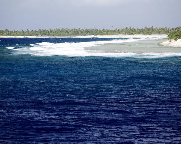Lagoons Poster featuring the photograph Surf Hits The Outer Reef At Rangiroa by Tim Laman