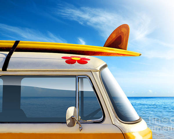 60ties Poster featuring the photograph Surf Van by Carlos Caetano