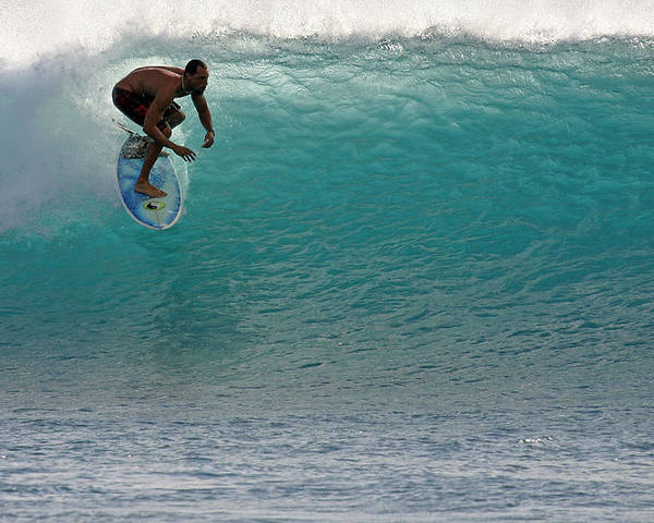 Surfer Poster featuring the photograph Surfer Dropping In The Blue Waves At Dumps Maui Hawaii by Pierre Leclerc Photography