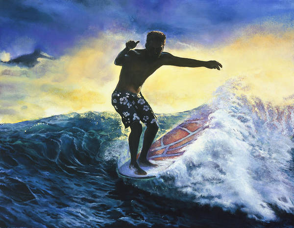 Surfer Poster featuring the painting Surfer by Mary Johnson