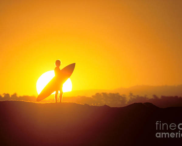 Athlete Poster featuring the photograph Surfer Silhouetted At Sun by Erik Aeder - Printscapes