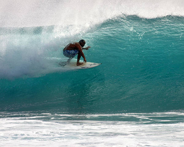 Surfer Poster featuring the photograph Surfer Surfing In The Tube Of Blue Waves At Dumps Maui Hawaii by Pierre Leclerc Photography