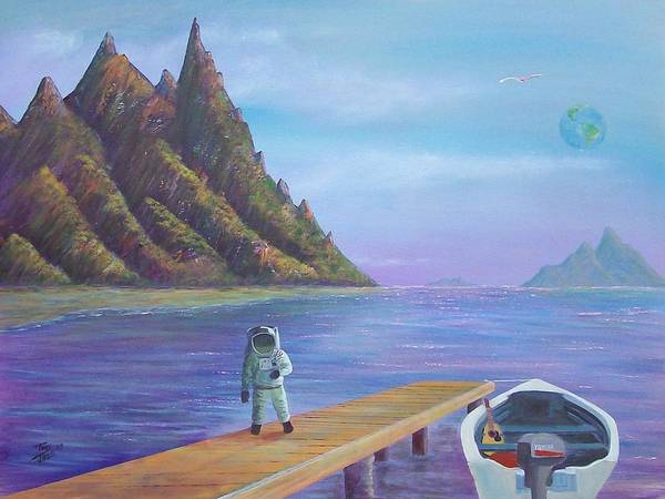 Seascapes Poster featuring the painting Surreal Seascape by Tony Rodriguez