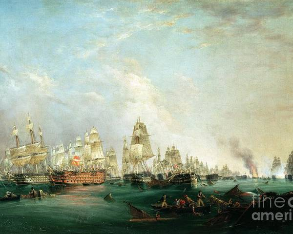 Surrender Poster featuring the painting Surrender Of The Santissima Trinidad To Neptune The Battle Of Trafalgar by Lieutenant Robert Strickland Thomas