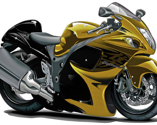 Suzuki Hayabusa Gold Bike Poster By Maddmax