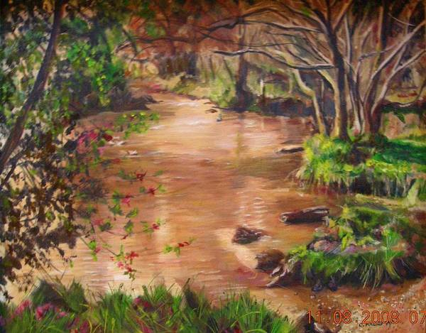 Landscape Poster featuring the painting Swamp by Olga Kaczmar
