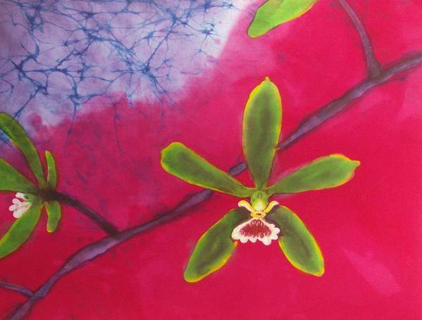 Orchid Poster featuring the tapestry - textile Swamp Orchi Fine Art Batik by Kay Shaffer