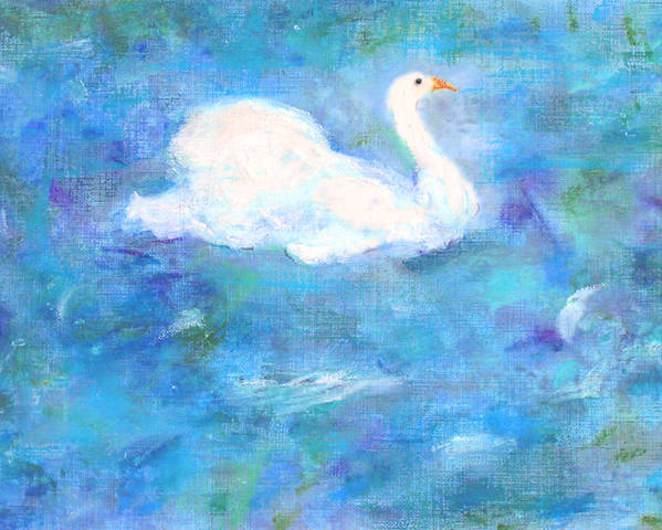 Lake Poster featuring the painting Swan Lake by Michela Akers