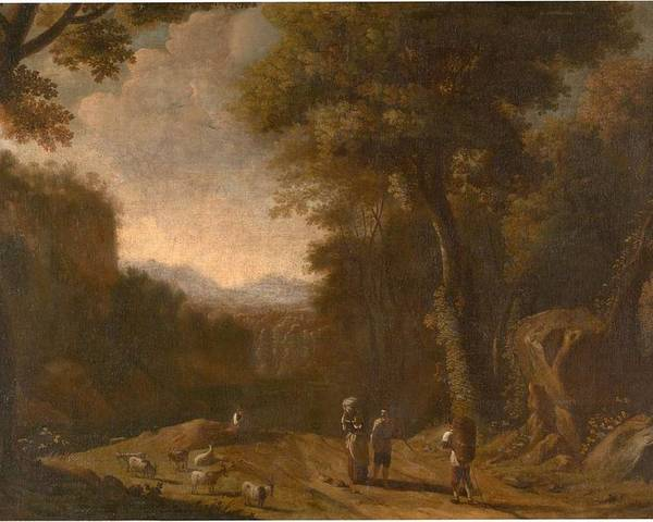 Nature Poster featuring the painting Swanevelt, Herman Van Woerden, 1603 - Paris, 1655 Landscape With Travellers And A Shepherd 1635 - 16 by SWANEVELT HERMAN VAN Woerden