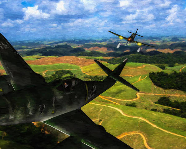 Messerschmitt Me-262 Swallow Poster featuring the digital art Swatting Down A Swallow - Oil by Tommy Anderson