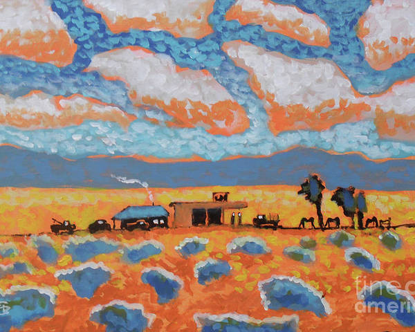 Sweetwater Diner And Gas Is A Painting About A Refuge In The Desert Offering Some Basic And Welcome Necessities. Poster featuring the painting Sweetwater Diner And Gas by Kip Decker