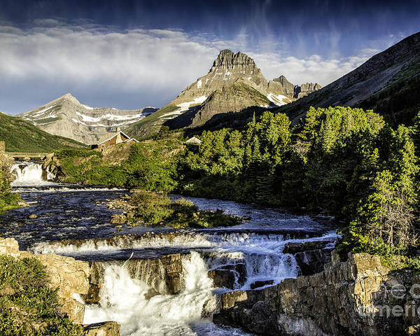 Glacier Poster featuring the photograph Swiftcurrent Falls Glacier Park 3 by Timothy Hacker