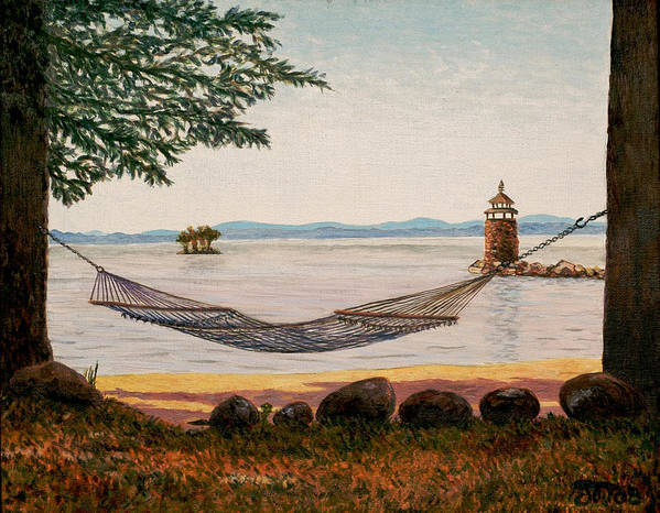 Sebago Poster featuring the painting Swingin On Sebago by Jeff Toole