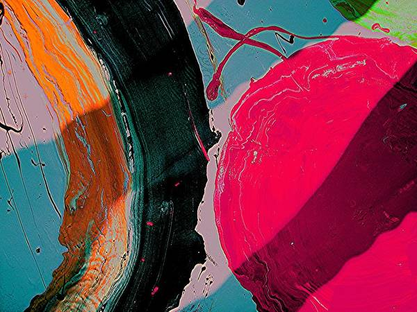 Abstract Art Poster featuring the painting Swirling Series 1 by Teo Santa