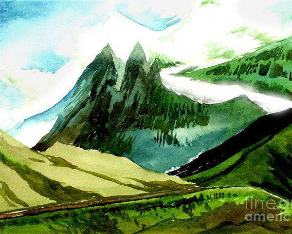 Landscape Poster featuring the painting Switzerland by Anil Nene