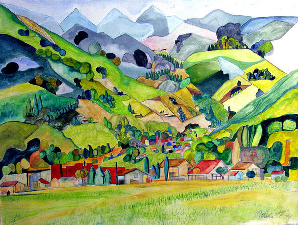 Landscape Poster featuring the painting Switzerland by Patricia Arroyo