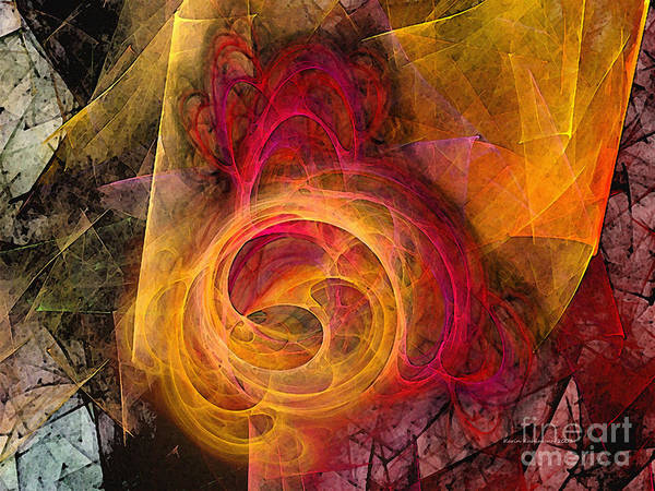 Abstract Poster featuring the digital art Symbiosis Abstract Art by Karin Kuhlmann