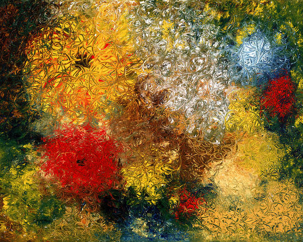 Abstract Poster featuring the painting Symphonie De Fleurs by Dominique Boutaud