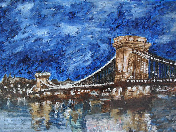 Landscape Poster featuring the painting Szechenyi Chain Bridge Budapest by Agnes V