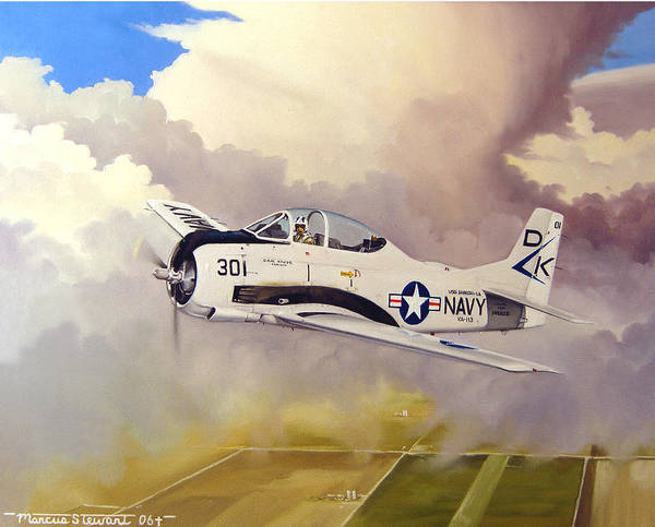 Military Poster featuring the painting T-28 Over Iowa by Marc Stewart