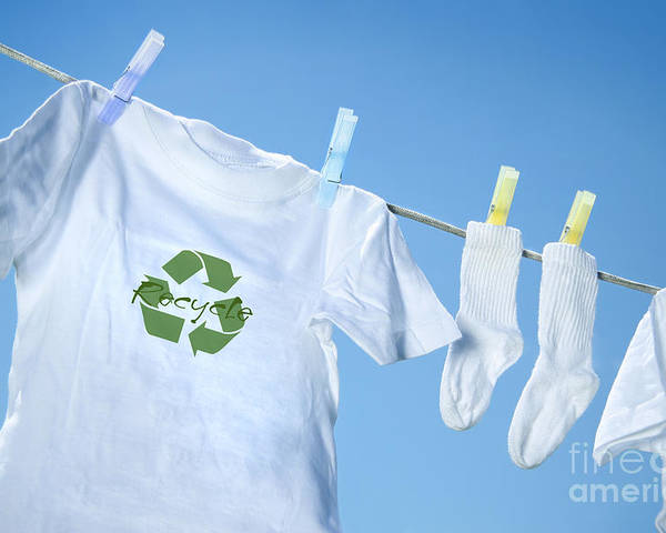 White Poster featuring the digital art T-shirt With Recycle Logo Drying On Clothesline On A Summer Day by Sandra Cunningham