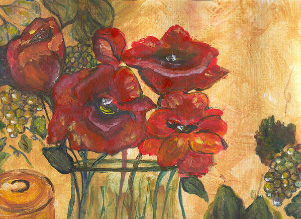 Flowers Poster featuring the painting Table Flowers by Pamela Wilson