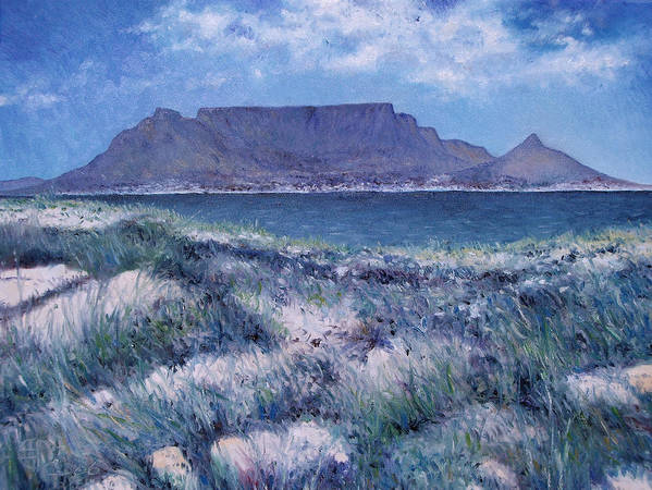 Enver Larney Poster featuring the painting Table Mountain Cape Town South Africa 2007 by Enver Larney