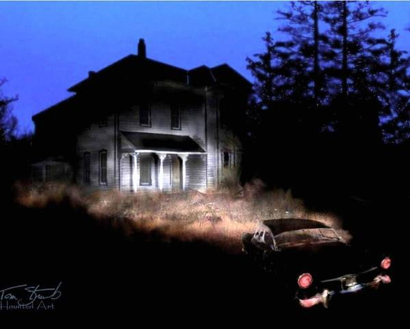 Haunted House Poster featuring the digital art Tail Lights by Tom Straub