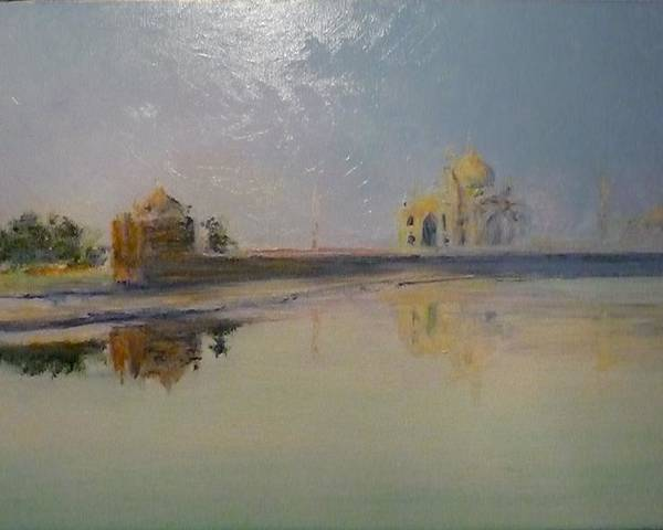 Taj Mahal Poster featuring the painting Taj Mahal Sunrise by Lizzy Forrester