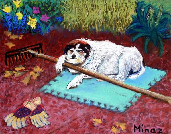 Dog Poster featuring the painting Take A Break by Minaz Jantz