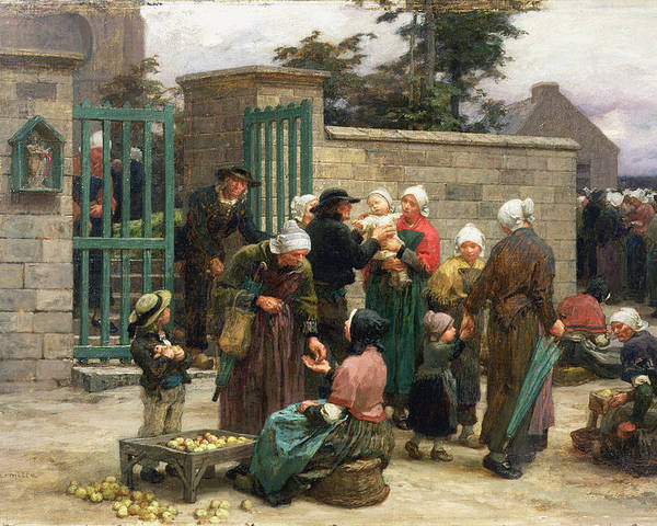 Taking Poster featuring the painting Taking In Foundlings by Leon Augustin Lhermitte