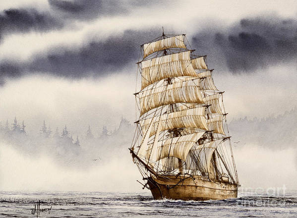 Tall Ship Print Poster featuring the painting Tall Ship Adventure by James Williamson