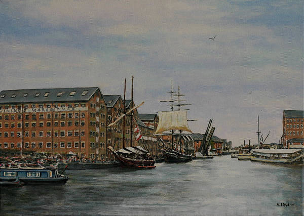 Tall Ships Docks Boats Quays Gloucester Poster featuring the painting Tall Ships At Gloucester Docks by Andy Lloyd