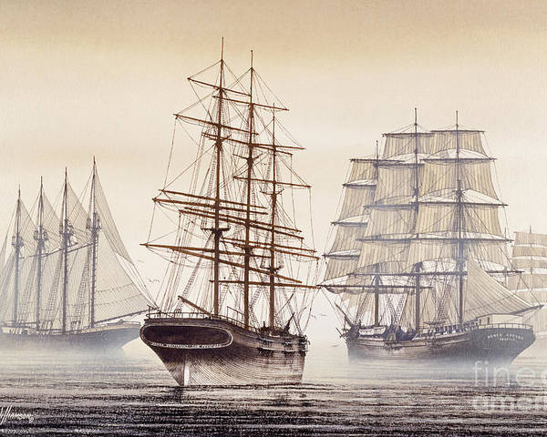 Tall Ship Print Poster featuring the painting Tall Ships by James Williamson