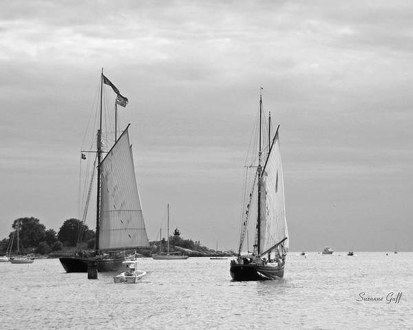 Tall Ships Poster featuring the photograph Tall Ships Sailing I In Black And White by Suzanne Gaff