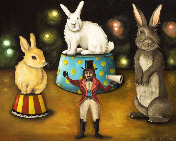 Bunnies Poster featuring the painting Taming Of The Giant Bunnies by Leah Saulnier The Painting Maniac