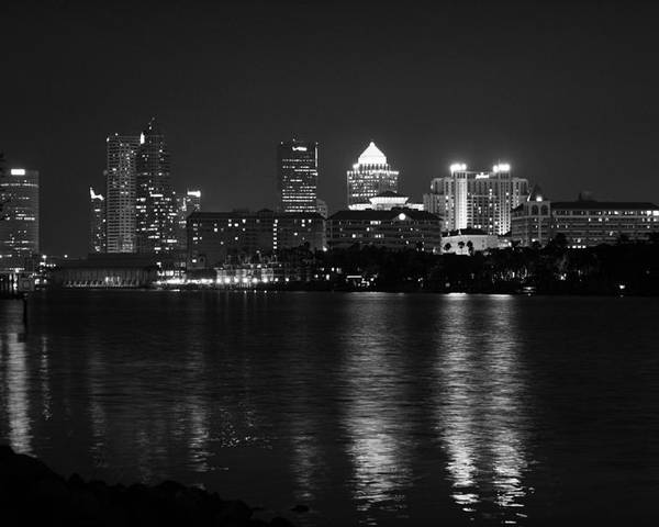Tampa Poster featuring the photograph Tampa Skyline South Black And White by Larry Underwood