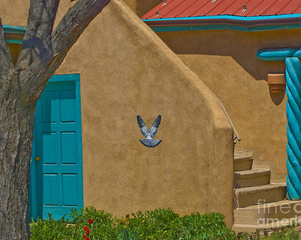 Courtyard Poster featuring the photograph Taos Courtyard by Jim Wright