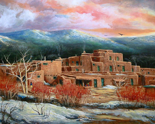 Landscape Poster featuring the painting Taos Pueblo by Brooke lyman