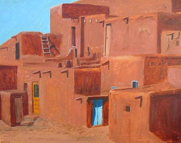 Southwest Poster featuring the painting Taos Pueblo V by John Terry