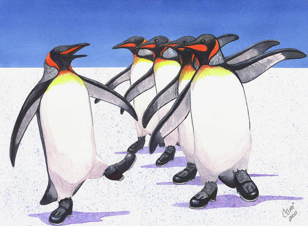 Penguin Poster featuring the painting Tappity Tap by Catherine G McElroy