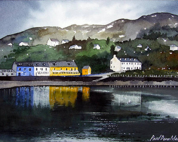 Scottish Fishing Harbour Poster featuring the painting Tarbert Reflections by Paul Dene Marlor