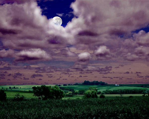 Landscape Poster featuring the photograph Tarkio Moon by Steve Karol