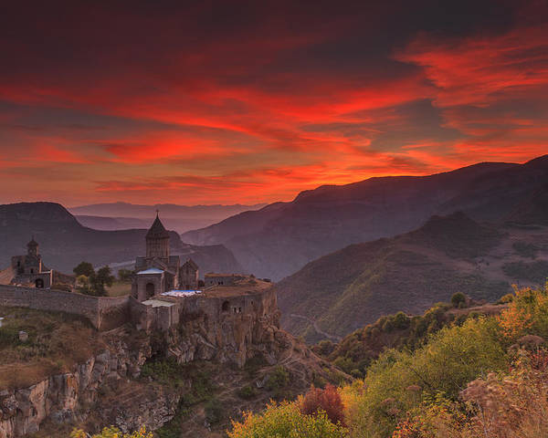 Armenia Poster featuring the photograph Tatev Monastery At Dawn by Anton Petrus
