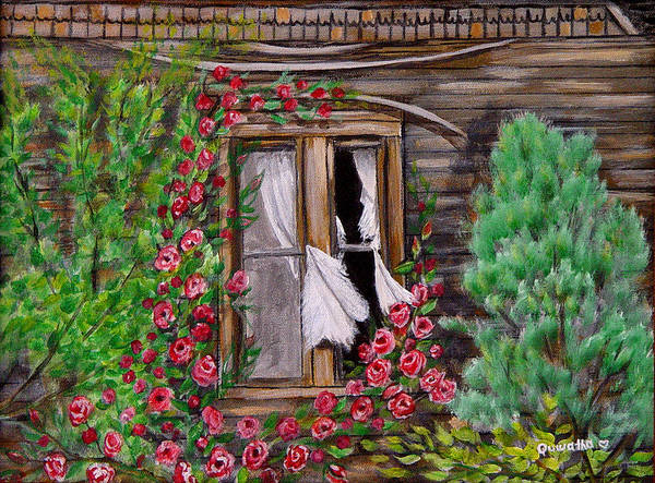 Curtains Poster featuring the painting Tattered Curtains by Quwatha Valentine
