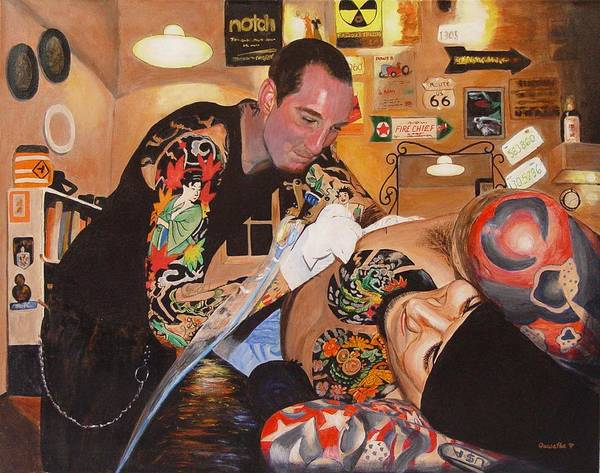 Portrait Poster featuring the painting Tattoo Artist by Quwatha Valentine