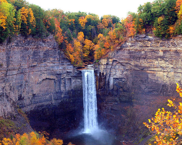 Taughannock Poster featuring the photograph Taughannock Waterfalls In Autumn by Paul Ge
