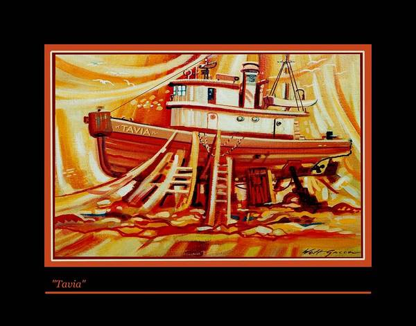 Fishing Boat In Drydock Landscape With Boat Shipyard Poster featuring the painting Tavia by Walt Green