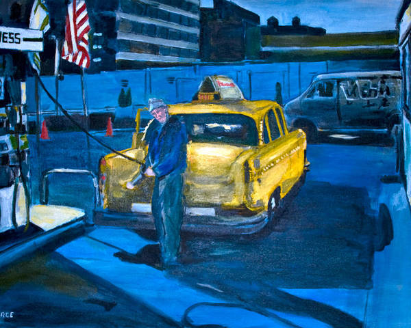 New York City Paintings Poster featuring the painting Taxi by Wayne Pearce